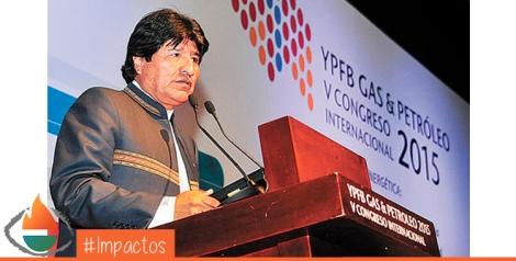Santa Cruz. El mandatario Evo Morales inauguró ayer el V Congreso Internacional 2015 de YPFB. ABI.