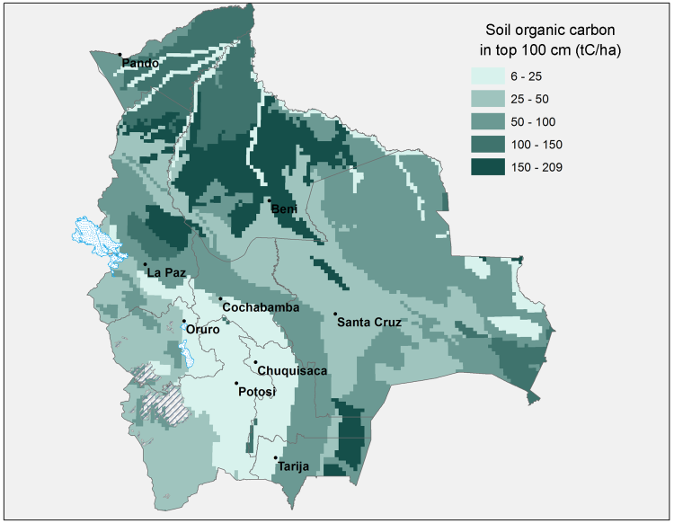 Fig 2. Map of Soil Organic Carbon density in Bolivia
